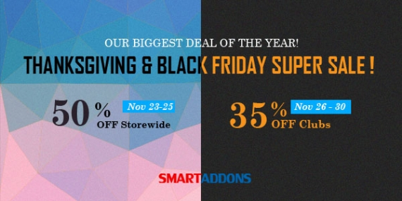Thanksgiving & Black Friday Crazy Sale! Up to 50% OFF at SmartAddons