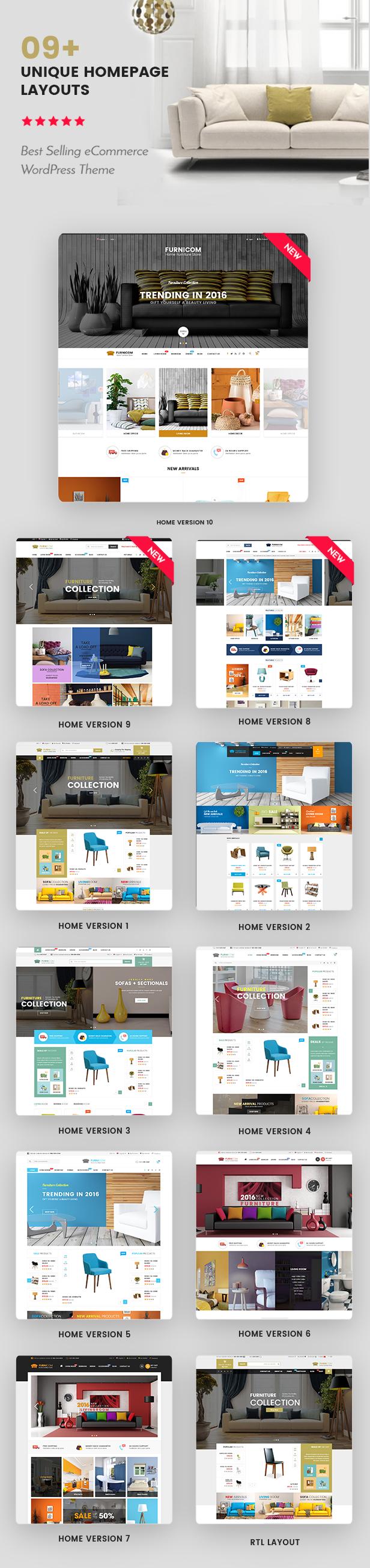 Responsive Furniture WooCommerce WordPress Theme - Homepage