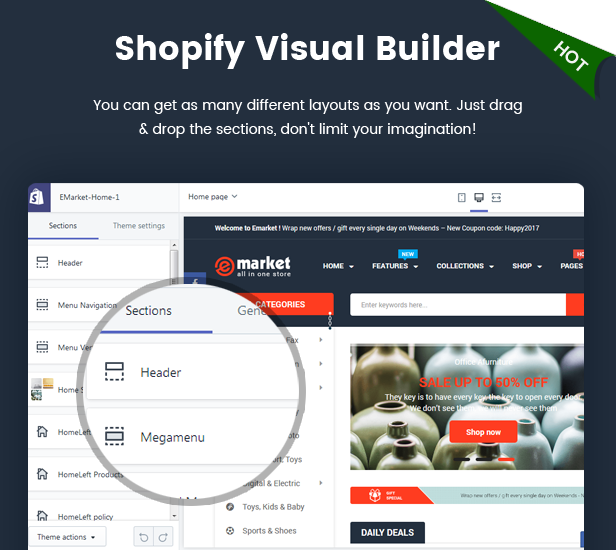 eMarket - Responsive & Multipurpose Sectioned Drag & Drop Bootstrap 4 Shopify Theme