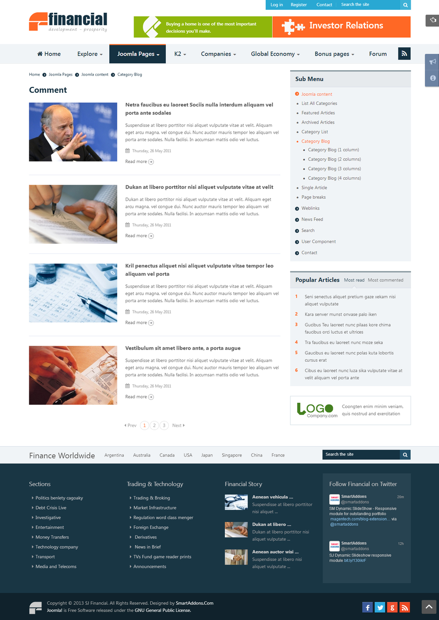 SJ Financial - Responsive Joomla Financial News Template - 04listing.jpg