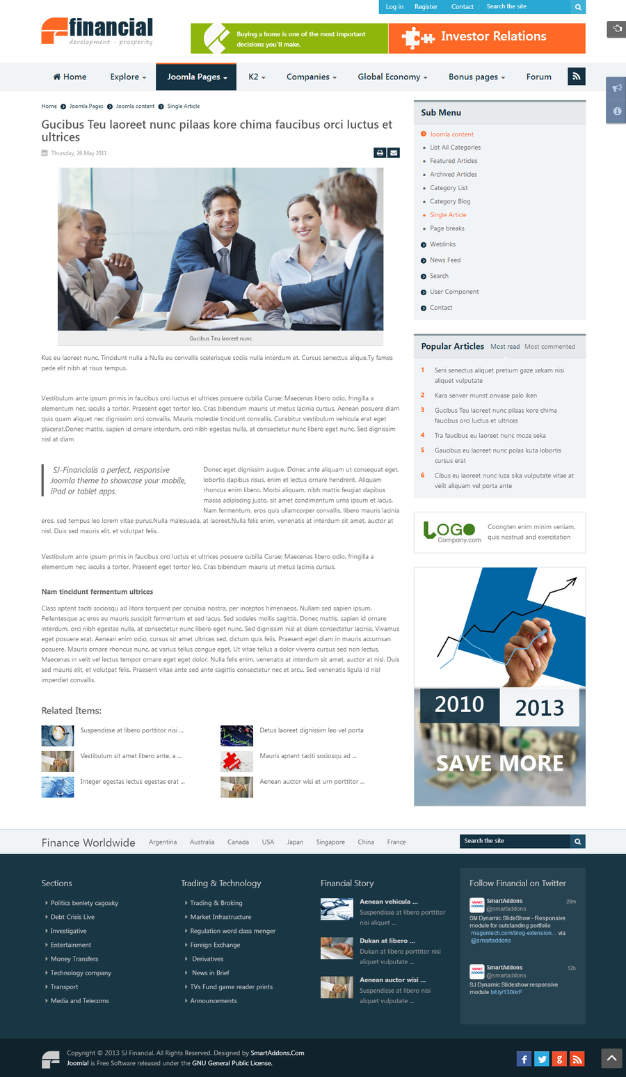 SJ Financial - Responsive Joomla Financial News Template - 05detail.jpg