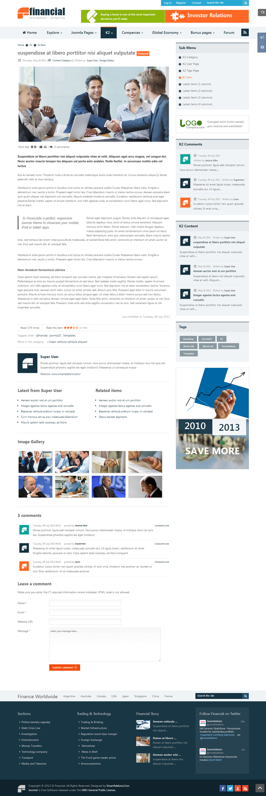 SJ Financial - Responsive Joomla Financial News Template - 07k2colums.jpg