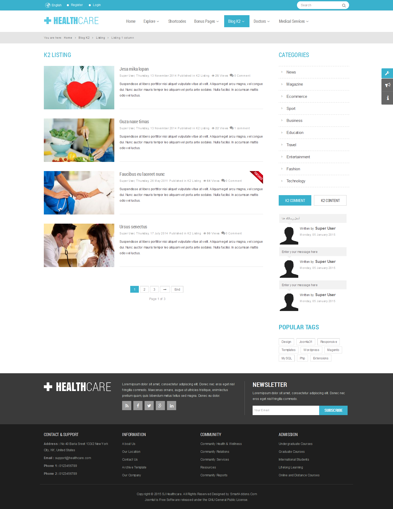 SJ Healthcare - Responsive Joomla Medical Health Template - 02_k2_listing.png