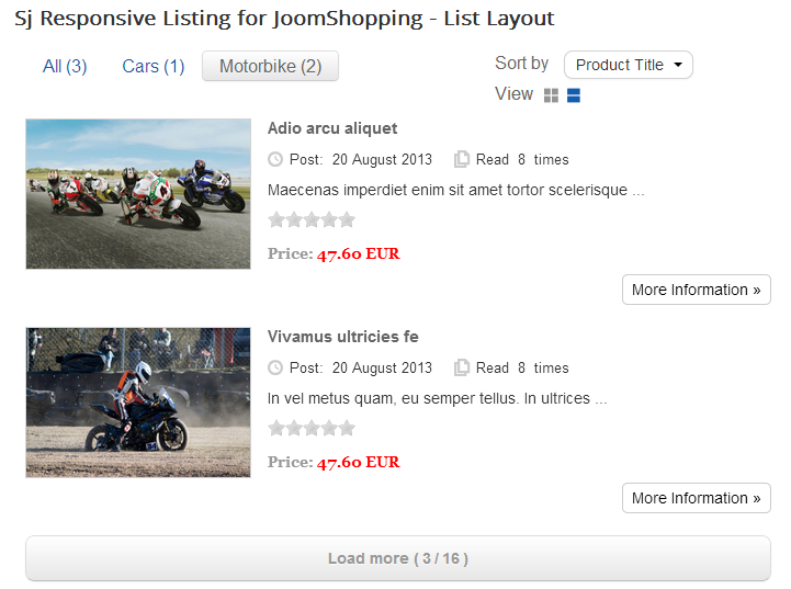 SJ Responsive Listing for JoomShopping - Joomla! Module - 02list.png