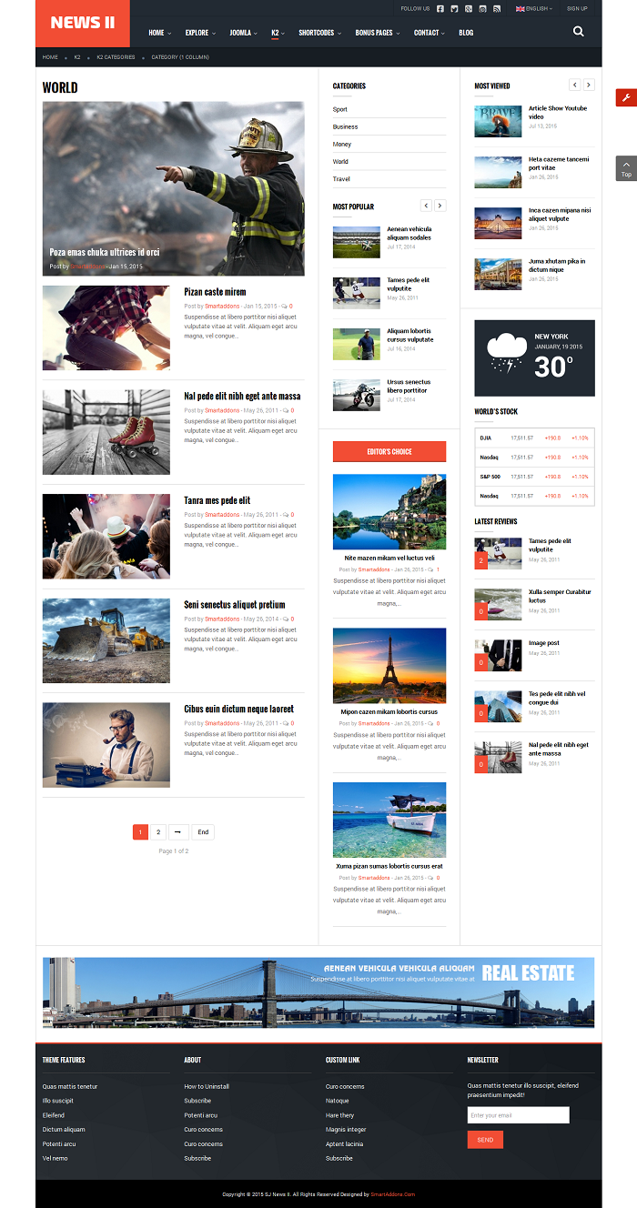 SJ News II - Free Responsive Joomla News Magazine Template - 05_k2-categories_category-1-column.png