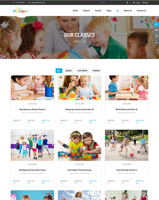 SJ Preschool - Responsive Education Joomla Template - 04_classes.png
