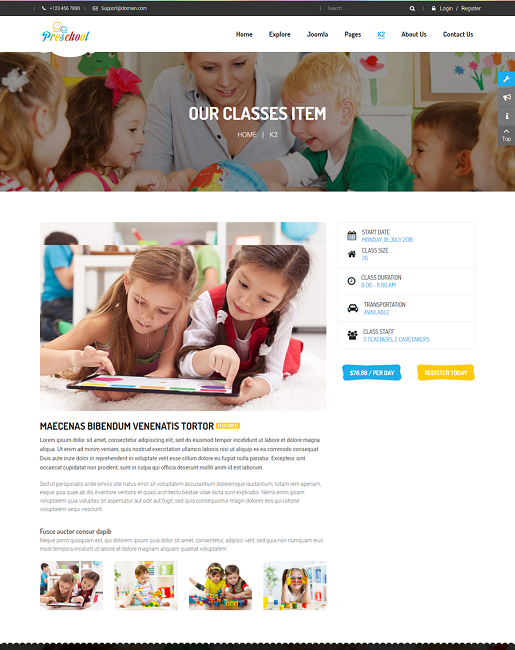 SJ Preschool - Responsive Education Joomla Template - 05-class_detail.png