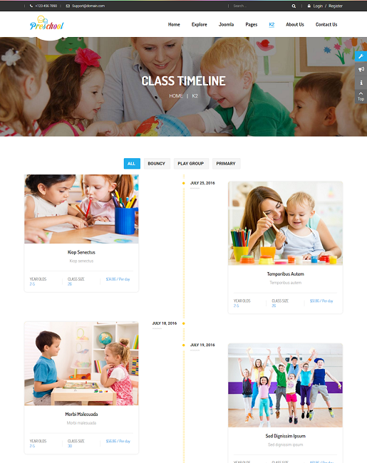 SJ Preschool - Responsive Education Joomla Template - 06_class-timeline.png