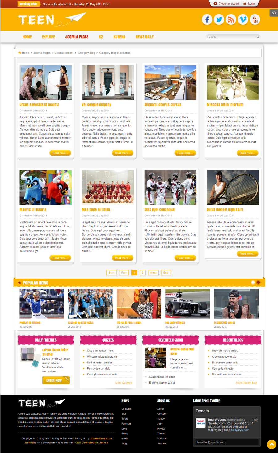SJ Teen - Responsive Joomla Template for youth age magazine - 04con-4col.jpg