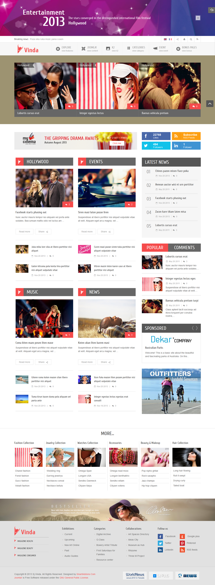 SJ Vinda - Free Joomla Entertainment Template - 01homepage1.png