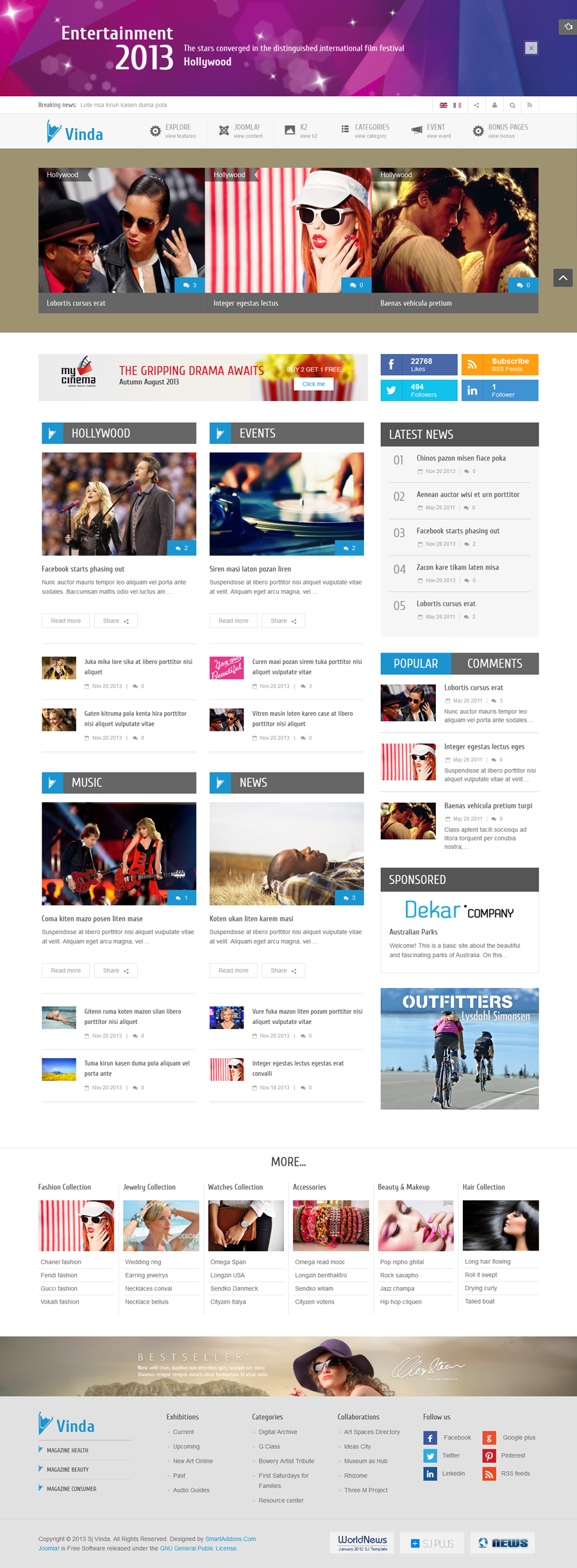 SJ Vinda - Free Joomla Entertainment Template - 02homepage2.png