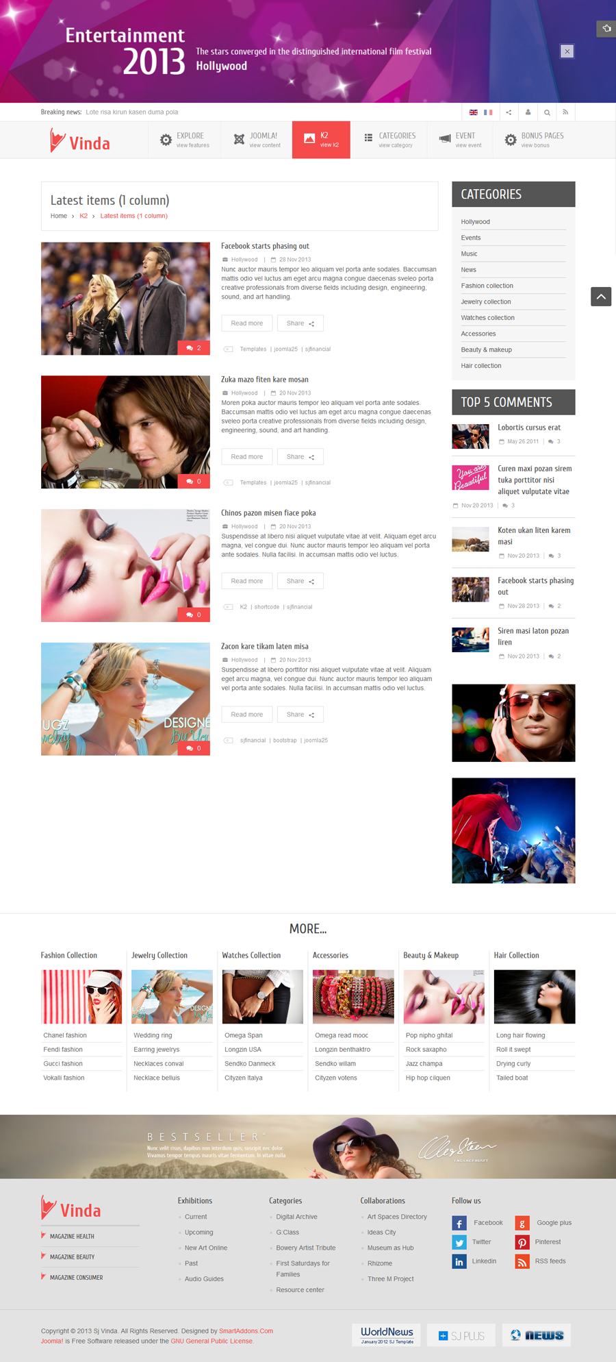 SJ Vinda - Free Joomla Entertainment Template - 05-1column.png