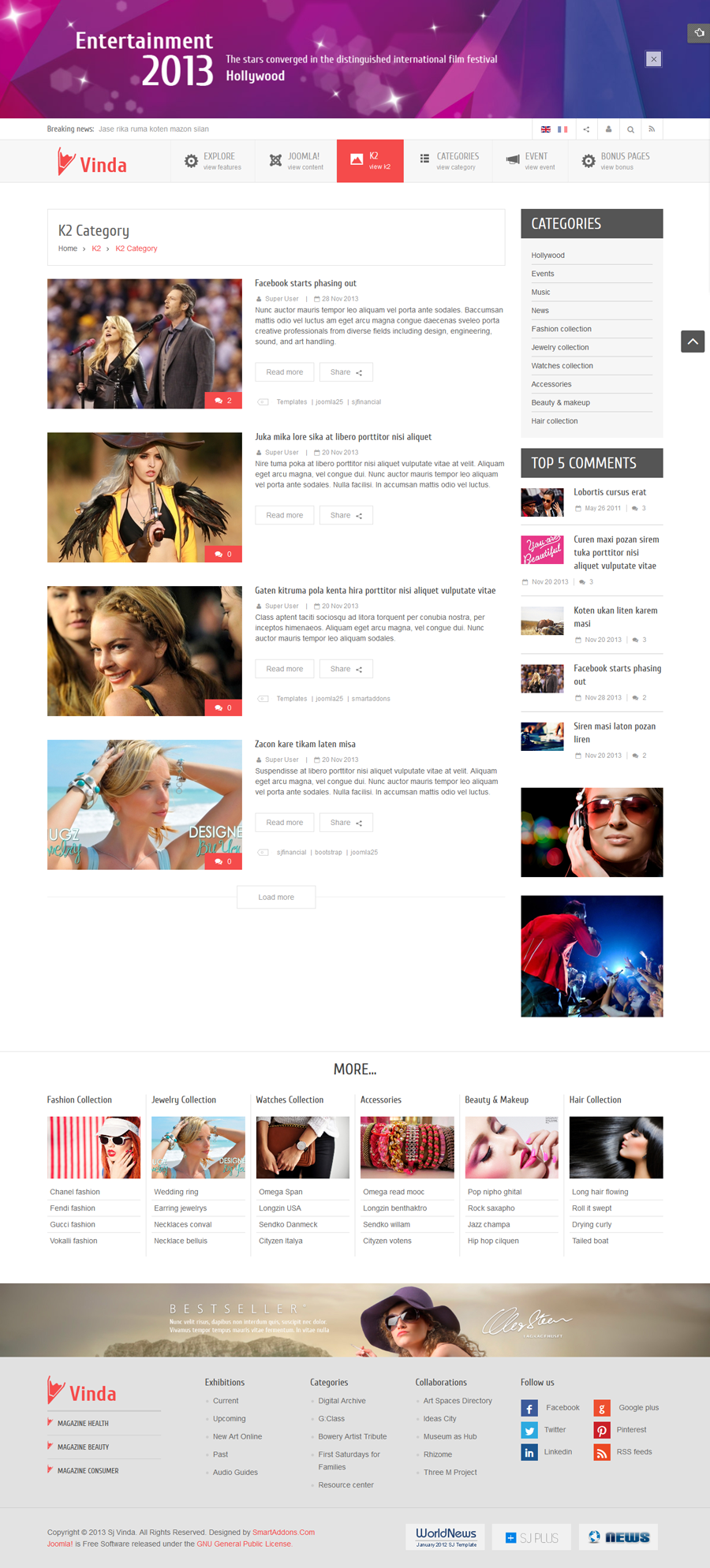 SJ Vinda - Free Joomla Entertainment Template - 08-k2-category.png