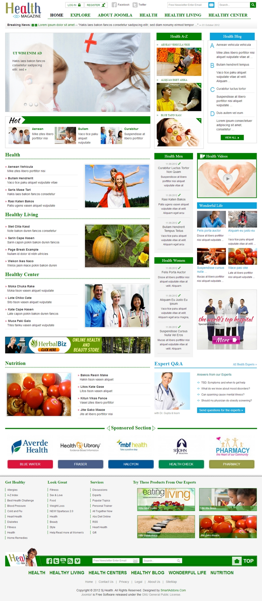 SJ Health - Responsive Joomla Healthcare Template - 11indexgreen.jpg