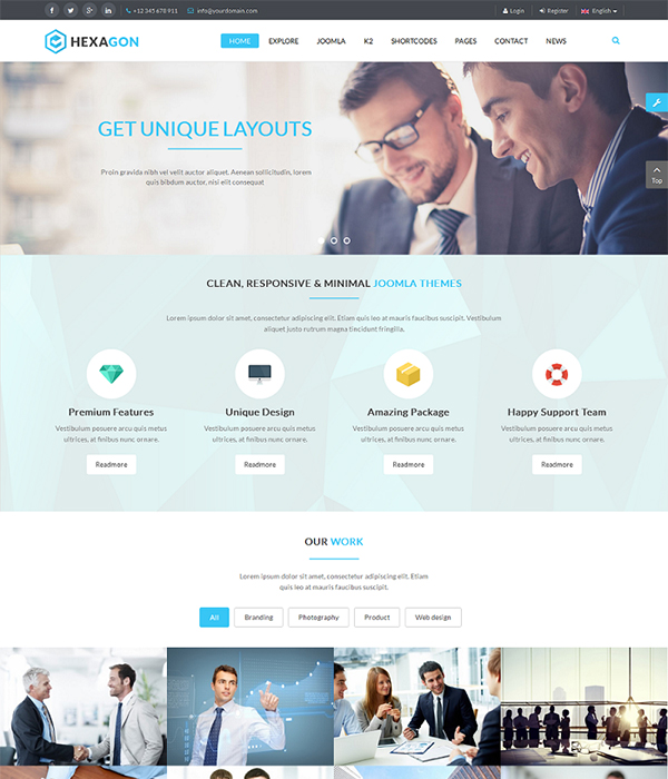 Best 10 free pro multipurpose business joomla templates 2018 sj hexagon responsive joomla business template flashek Choice Image