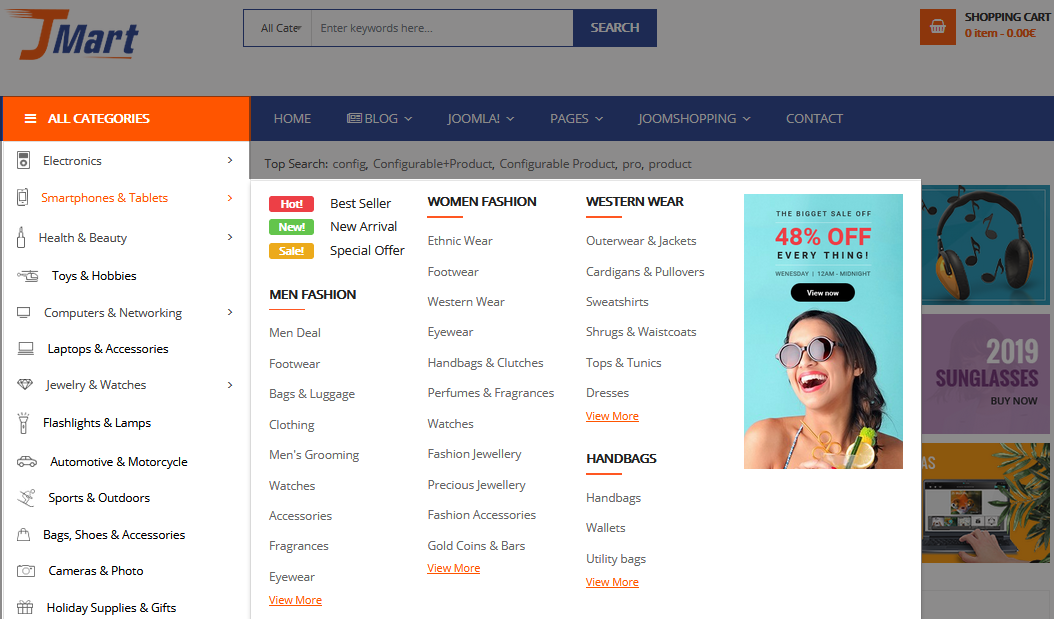 How to Configure Vertical Mega Menu in Sj JMart Template Step by Step