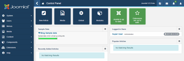 joomla 4 - backend overview