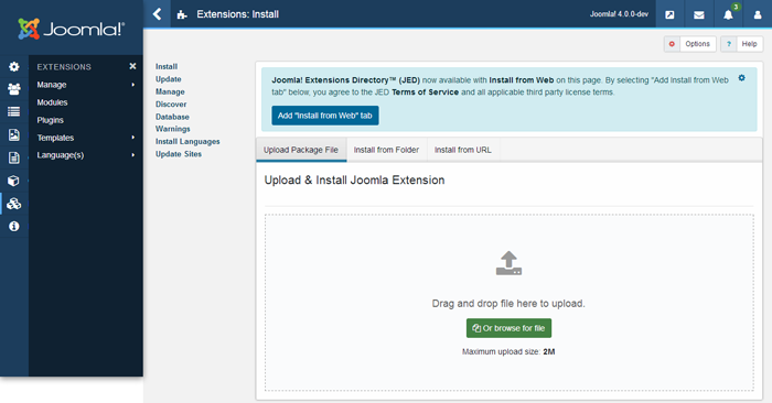 joomla 4 - extension manager