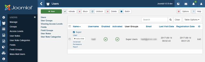 joomla 4 - user manager