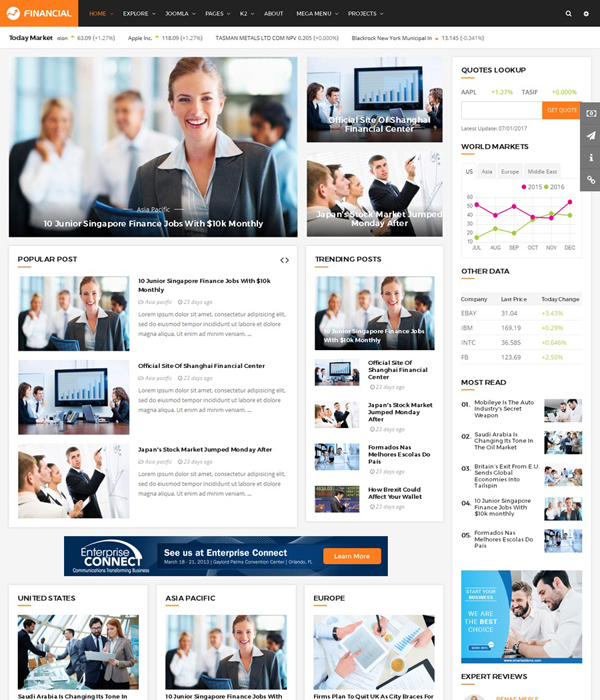 Top 10 awesome free premium news magazine joomla 37 templates 2017 sj financial iii responsive business financial joomla template flashek Gallery