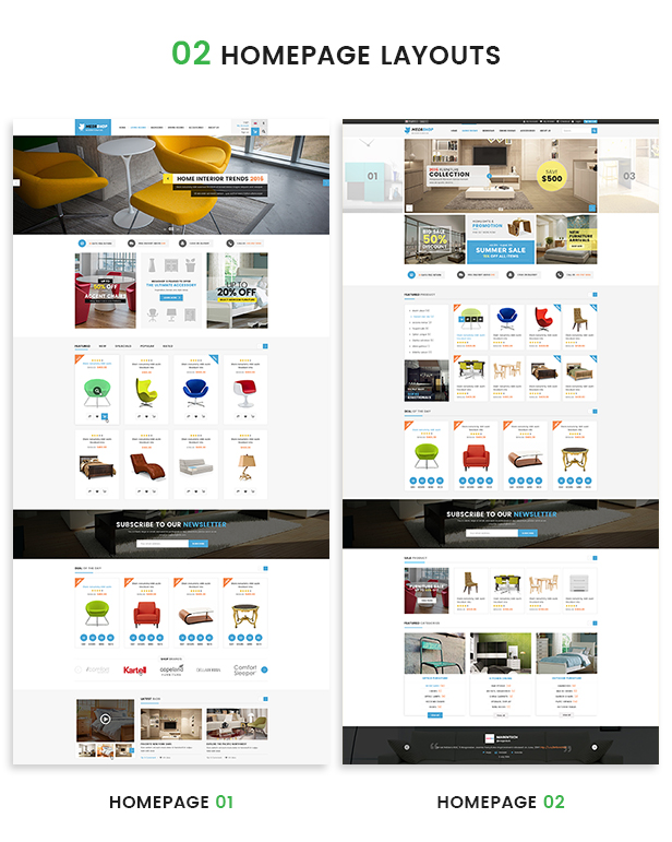 Opencart fashion theme - homepage layouts