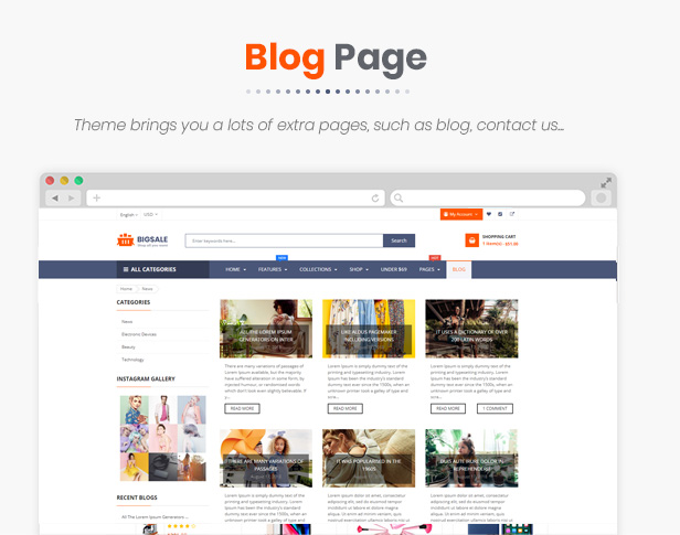 BigSale - The Clean, Minimal & Unlimited Bootstrap 4 Shopify Theme (20 HomePages)