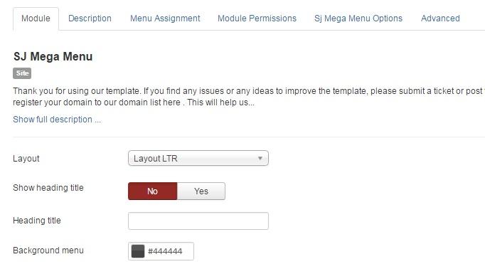 configure mega menu module