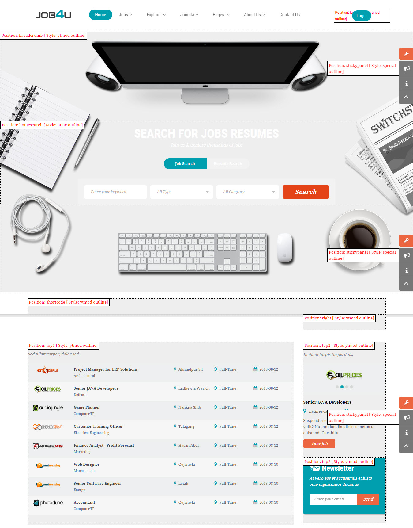 Responsive Joomla Job Board Template - SJ Job4u