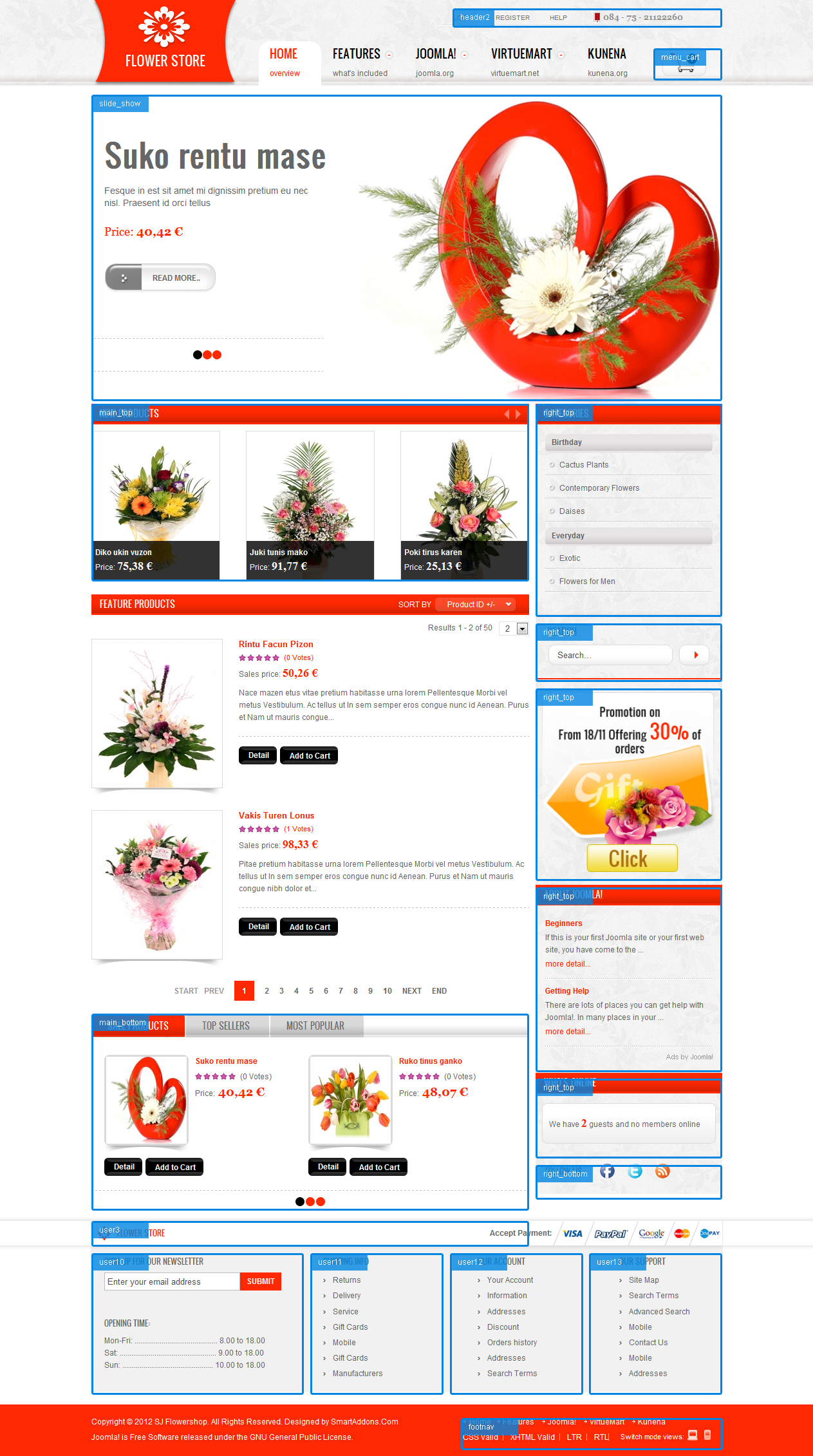 Joomla Template for Flower Store - SJ Flower Store