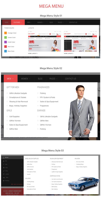OpenCart Fashion Theme - Mega Menu