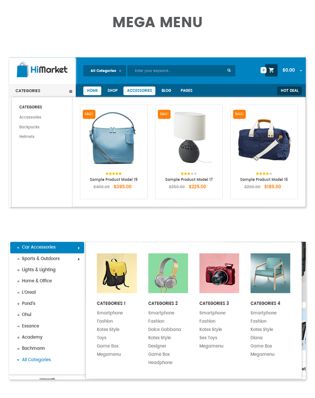 Megamenu of HiMarket - Electronics Store/Medical/Sport Shop WordPress Theme
