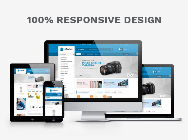 Responsive Design - HiMarket - Medical/Sport Shop/Electronics Store WordPress Theme
