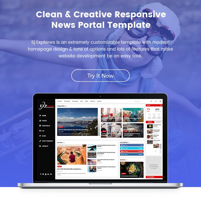 Responsive Joomla News Blog Template Sj Expnews