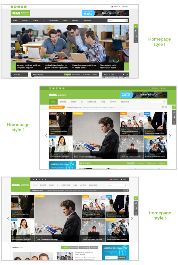 3 HOMEPAGE LAYOUT STYLES