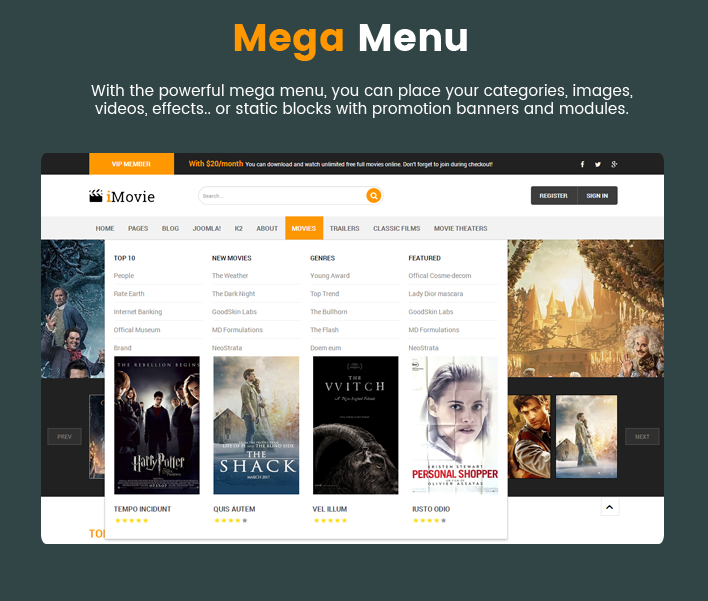 Sj iMovie - Responsive Movies, Entertainment Joomla Template