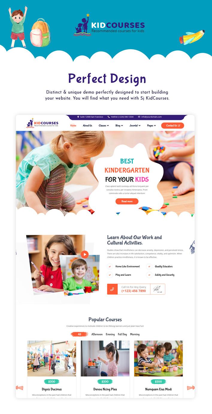 Sj KidCourses - Colorful Kindergarten and School Joomla Template