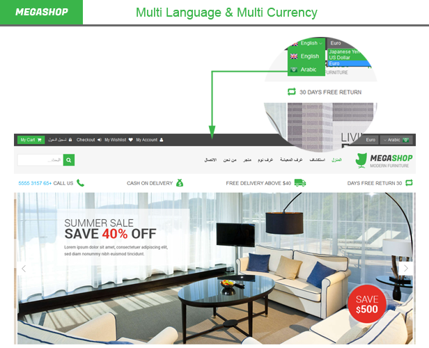 Megashop- Multi language, currency