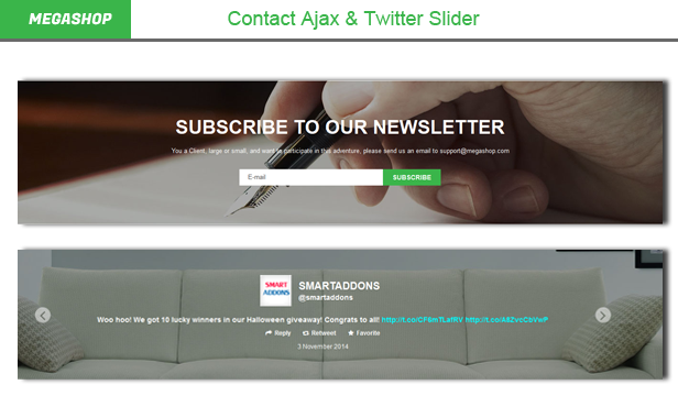 Megashop- Twitter Slider & Contact Ajax