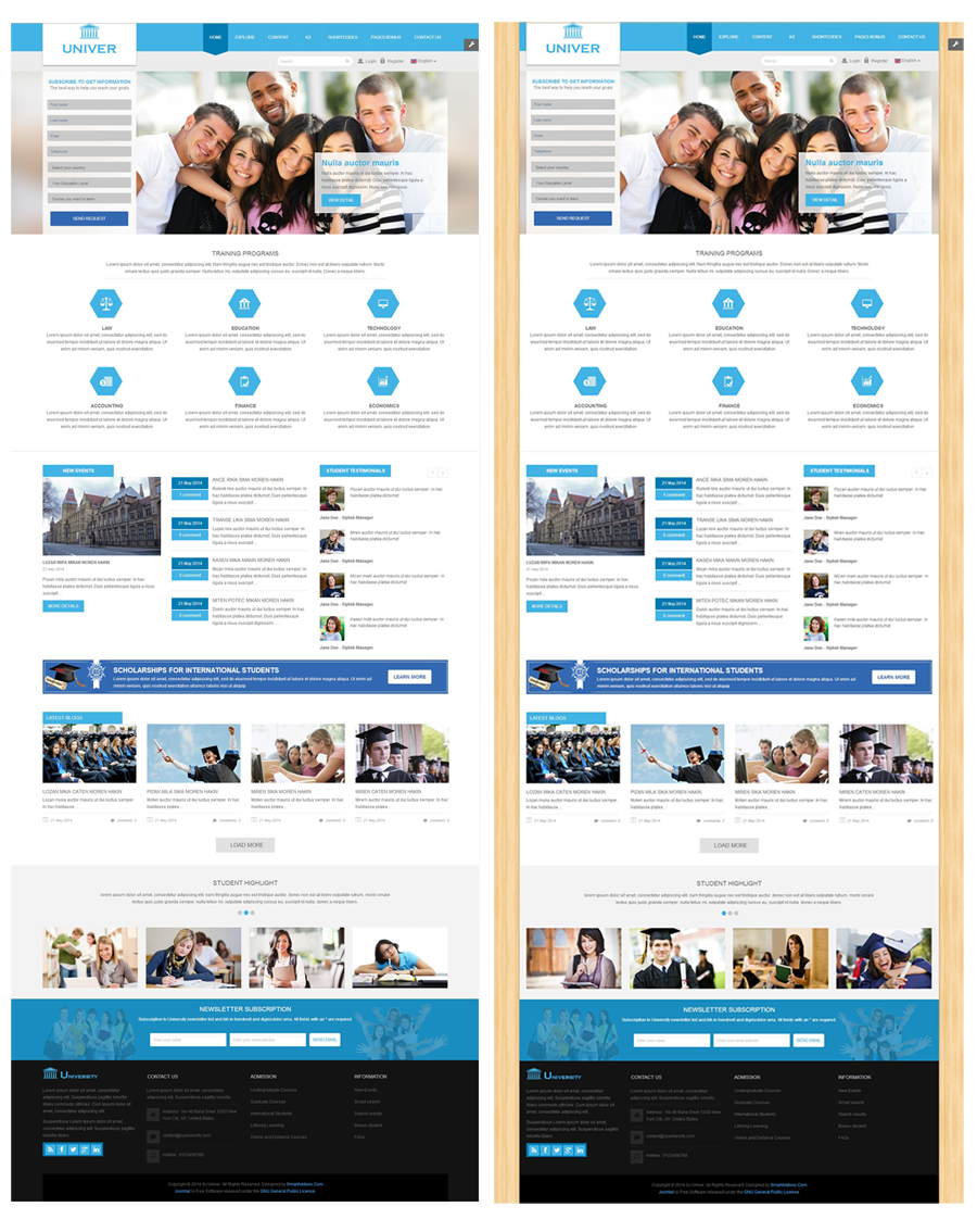 Responsive joomla education template sj univer sj univer boxed and wide layout maxwellsz