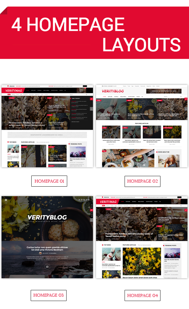 4 homepage layouts