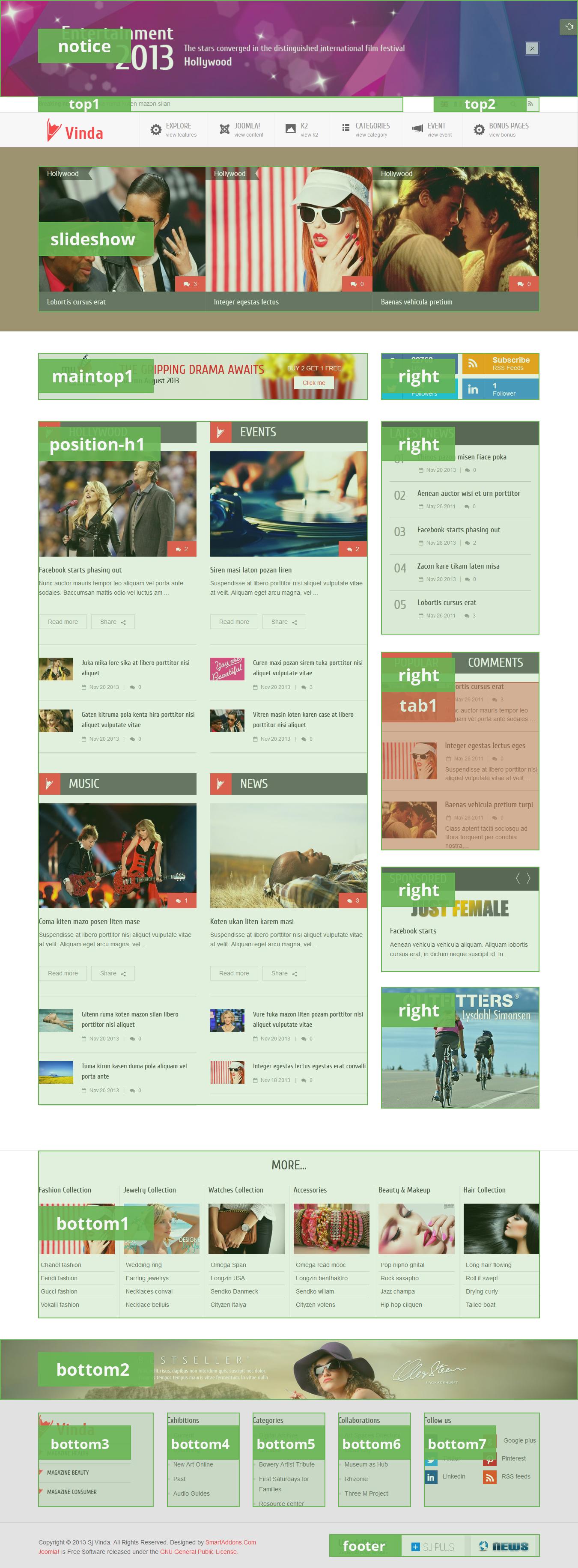 Free Joomla Entertainment Template - SJ Vinda