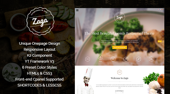 SJ Zaga - restaurant Joomla template
