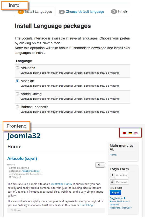 Joomla 3.2 - Multilingual support