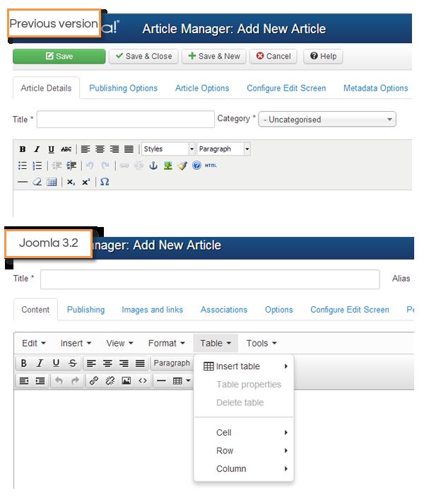 Joomla 3.2 - TinyMCE Update