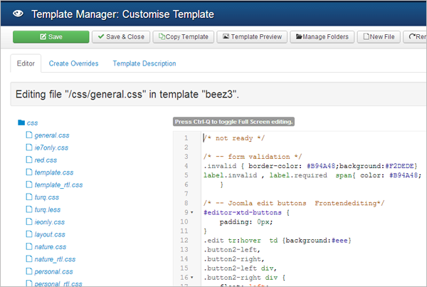 Joomla 3.2 - Improved Template Manager