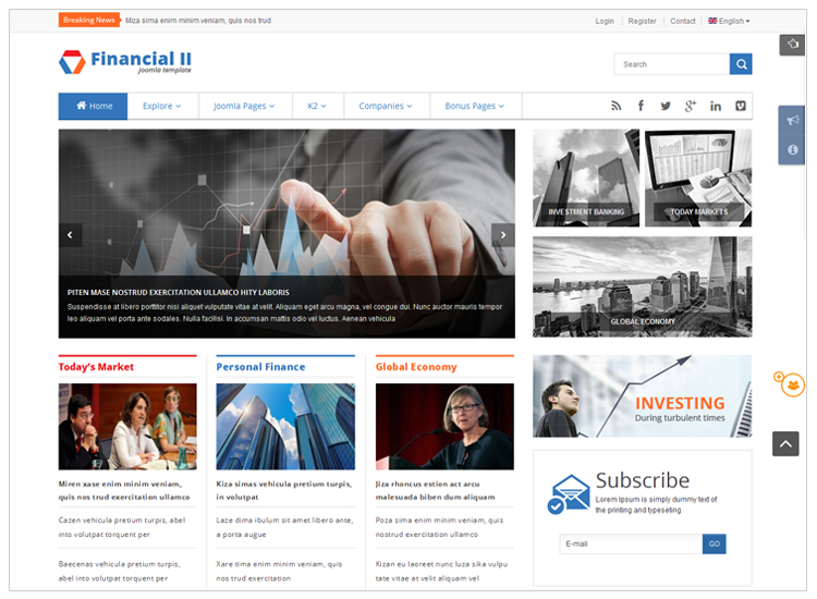 Financial II - Top 10 Best-selling Joomla Templates