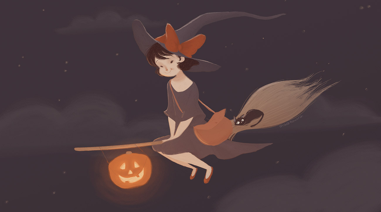 Cute Halloween Background Witch on Broom
