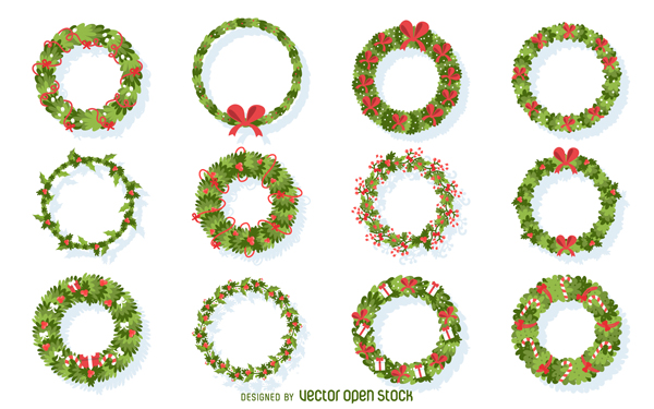 High-Quality Free Christmas Vector Graphics 2016 - Wreath