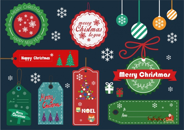 High-Quality Free Christmas Vector Graphics 2016 - elements tags