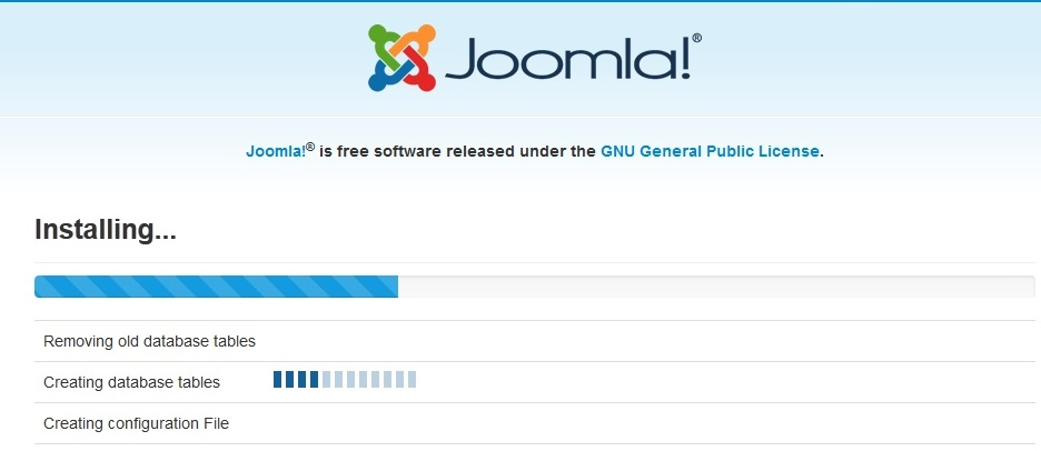 Joomla 3 installation stuck on creating database table